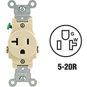Leviton 5801-I 20A, 125V, NEMA 5-20R, 2P, 3W, Single Recpt., Grounding, Ivory