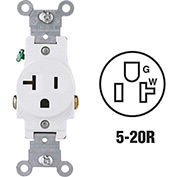 Leviton 5801-W 20A, 125V, NEMA 5-20R, 2P, 3W, Single Recpt., Grounding, White