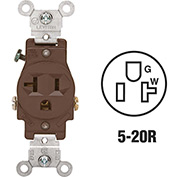 Leviton 5801 20A, 125V, NEMA 5-20R, 2P, 3W, Single Recpt., Grounding, Brown