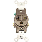 Leviton 5821 20A, 250V, NEMA 6-20R, 2P, 3W, Single Recpt., Grounding, Brown