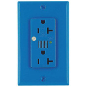 Leviton 7380-B Decora Duplex Surge Suppressor Receptacle Audible Alarm 20a, Blue - Min Qty 4
