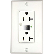 Leviton 7380-W Decora Surge Prot. Duplex Receptacle Audible Alarm, 20a, White - Min Qty 4