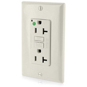 Leviton GFNT2-HGT  20A SmartlockPro Self-Test GFCI Recpt, Hospital Grade, Light Almond