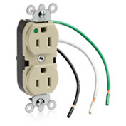 Leviton 8200-Li 15a, 125v, Slim Body Duplex Receptacle, Grounding, Ivory - Min Qty 11