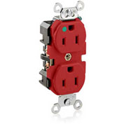 Leviton 8200-R  Duplex Receptacle, Straight Blade, Self Grounding, Red - Min Qty 22
