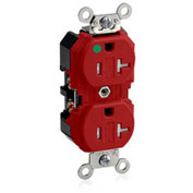 Leviton 8300-Sgr  Duplex Receptacle, Straight Blade, Self Grounding, Red - Min Qty 8