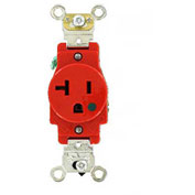 Leviton 8310-R 20a, 125v, Single Receptacle, Red - Min Qty 13