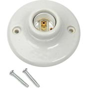 Leviton 9874 Medium Base One-Piece Glazed Porcelain Outlet Box Mount Incandescent Lampholder