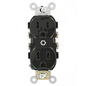 Leviton CR015-E 15A, 125V, Slim Body Duplex Receptacle,, Black