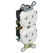 Leviton CR020-W 20A, 125V, Slim Body Duplex Receptacle, White