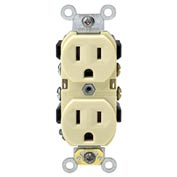 Leviton CR15-I 15A, 125V, Duplex Receptacle, Self Grounding, Ivory