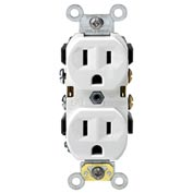 Leviton CR15-W 15A, 125V, Duplex Receptacle, Self Grounding, White