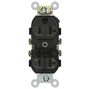 Leviton CR20-E 20A, 125V, Duplex Receptacle, Self Grounding, Black