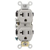 Leviton CR20-GY 20A, 125V, Duplex Receptacle, Self Grounding, Gray