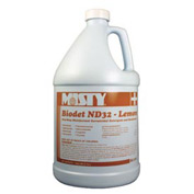 Misty Biodet ND-32 Disinfectant Deodorizer Lemon, Gallon Bottle 4/Case - AEPR12204