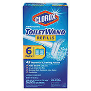 Clorox® Disinfecting Toilet Wand Refill Heads, Blue/White, 6/Pack 8/Case - COX14882CT