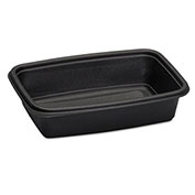 Microwave-Safe Containers,32 oz., Plastic, Black, 8-3/4x6-1/8x2, 75/Bag, 300 ct