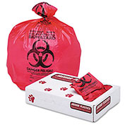 "Health Care ""Biohazard"" Printed Waste Liners, 1.3 mil, 33"" x 39"", Red, 150/Carton"