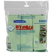"""Wypall Cloths With Microban Microfiber 15-3/4"""" x 15-3/4"""", Green 6 Wipes/Pack 4/Case - KIM83630CT"""