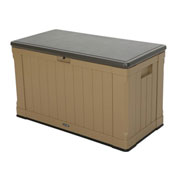 Lifetime 60167 Outdoor Deck Storage Box 116 Gallon, Heather Beige w/Brown Top