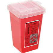 "1-Quart Phlebotomy Sharps Container, Dual Openings, 4-1/2""W x 4-1/2""D x 6-3/4""H, Red"
