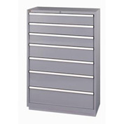 Lista® 7 Drawer Shallow Depth Cabinet - Gray, Individual Lock
