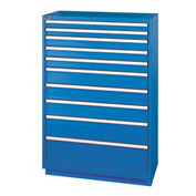 Lista® 10 Drawer Shallow Depth Cabinet - Blue, Individual Lock