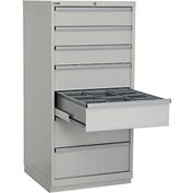 """Lista 28-1/4""""W Cabinet, 7 Drawer, 62 Compart - Light Gray, Individual Lock"""