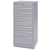 Lista® 8 Drawer Standard Width Cabinet - Light Gray, Individual Lock