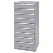 Lista® 9 Drawer Standard Width Cabinet - Light Gray, Individual Lock