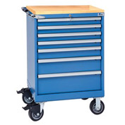 "Lista® 7 Drawer 24""W Shallow Depth Mobile Cabinet w/Butcher Block Top-Blue, Individual Lock"