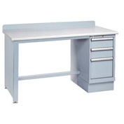 Technical Workbench w/Tech Leg, 3 Drawer Cabinet, Plastic Laminate Top - Gray