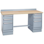 Technical Workbench w/3 Drawer Cabinets, Butcher Block Top - Gray