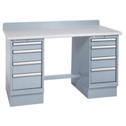 Technical Workbench w/4 Drawer Cabinets, Plastic Laminate Top - Gray