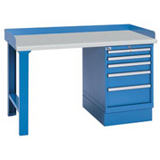 Industrial Workbench w/Leg, 5 Drawer Cabinet, Plastic Laminate Top - Blue