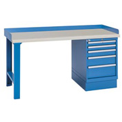 Industrial Workbench w/Leg, 5 Drawer Cabinet, Butcher Block Top - Blue