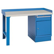 Industrial Workbench w/Leg, Drawer Cabinet w/Shelf, Plastic Laminate Top - Blue