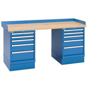 Industrial Workbench w/5 Drawer Cabinets, Butcher Block Top - Blue