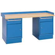 Industrial Workbench w/1 Drawer w/Shelf Cabinets, Butcher Block Top - Blue
