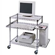 "Chrome Wire Mobile Computer Workstation - 29-1/2"" x 18"" x 42"""