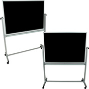 "Luxor® Mobile Reversible Whiteboard / Chalkboard - 48""W x 36""H"