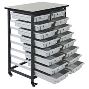 "Luxor Mobile Bin Cart with Sixteen 3""H Totes MBS-DR-16S - Gray/Black, 19-3/4""L x 30-1/2""W x 37-1/4""H"