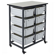 "Luxor Mobile Bin Cart with Eight 6""H Totes MBS-DR-8L - Gray/Black, 19-3/4""L x 30-1/2""W x 37-1/4""H"