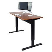 "Luxor Adjustable Height Desk - Pneumatic - 48""W x 29.5""D - Teak"