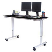 "Luxor Electric Adjustable Height Standing Desk 59""L x 29""W x 29 to 45""H Silver Frame/Black Oak Top"