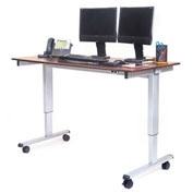 "Luxor Electric Adjustable Height Standing Desk 59""L x 29""W x 29 to 45""H Silver Frame/Dark Walnut Top"