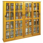 Mission Style Sliding Glass Door Multimedia Cabinet - Oak