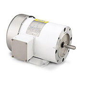 Leeson Motors Motor Washdown Motor-3HP, 208-230/460V, 3490RPM, TEFC, RIGID C, 1.15 SF, 85.5 Eff.