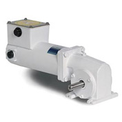 Leeson Motors Gearmotor-Right-Angle Shaft, 62RPM, 1/4HP, TENV, 12V, DC, 135 Lb.In.