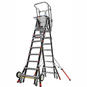 Little Giant Fiberglass Aerial Safety Cage Ladder W/ Wheel Lift Casters, 8-14' Type 1AA - 18515-243